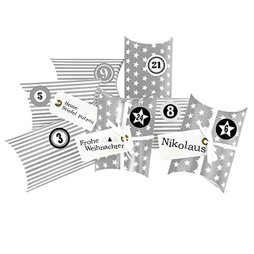 Frau WUNDERVoll® DIY ADVENTSKALENDER CHRISTKIND zum Befüllen, grau Sterne und Streifen, Ziffern grau, Kissenschachteln 15x11x4,5cm / Weihnachten, Papiertüten, Kinder, Geschenkbeutel, Aufkleber