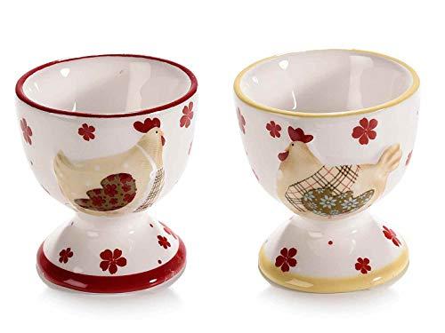 Ideapiu 6 Eierbecher aus Keramik, bunt, mit Motiv Henne
