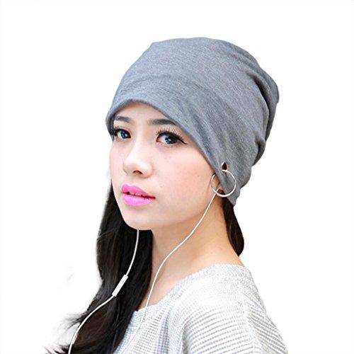 HuntGold chaud unisexe en coton doux Hip Hop Bague en métal chaud-Bonnet casquette de couverture (Gris clair)
