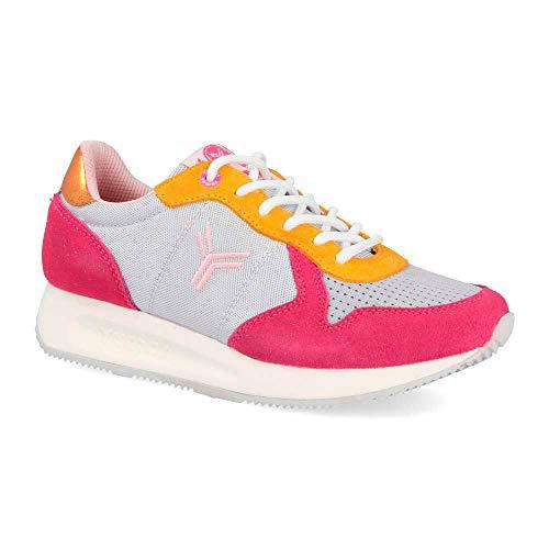 Zapatilla Sneaker Yumas Venus Fucsia/Gris Fabricado en Piel Serraje y nilon Plantilla Confort Latex para Mujer