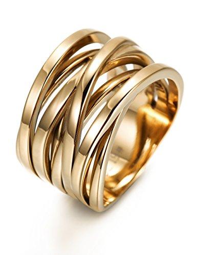 WISTIC Damen Ring Vergoldet aus Edelstahl Partnerring Geschenk fur Mutter Freundin Tochter Silber Rose Gold (14 Karat (585) Gelbgold, 54 (17.2))