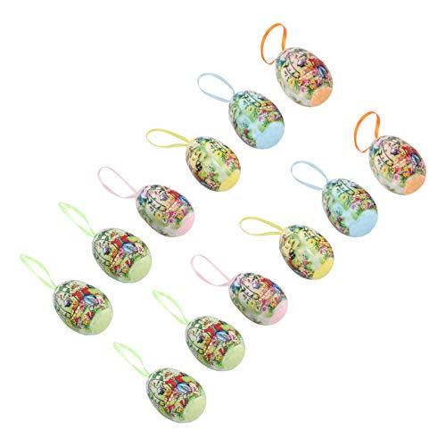 NUOBESTY Ägg hängande ornament skum påskägg dekorativa hängande ägg påskdekoration påskpynt för påskfest födelsedag dekorationsmaterial 12 st