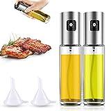 Oil Sprayer Dispenser, 100ml Oil Dispenser 2Pcs Stainless Steel & Transparent Glass Bottle Vinegar Sprayer for Kitchen, Cooking, Salad, Bread Baking, BBQ
