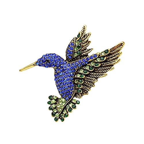 LNSTORE Dark Blue Rhinestone Hummingbird Broche, 5.0cm * 5.5cm, Vintage Fashion Animal Broche, Regalo Elegante y con Estilo (Color : Gold Blue)