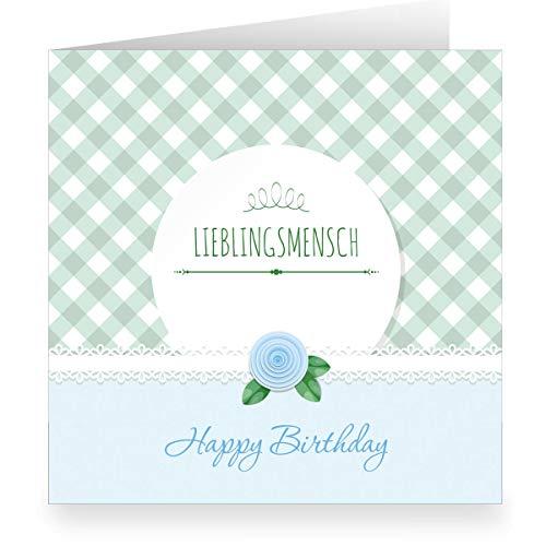 Lichtblauwe shabby chic verjaardagskaart met Vichy ruiten binnen wit (vierkant, 15,5 x 15,5 cm incl. envelopp): Happy Birthday lievelingsmen- grote XL groenkaart voor familie, vrienden, medewerkers 12 Grußkarten