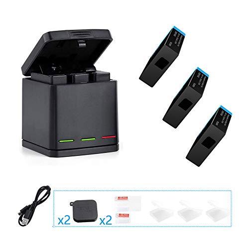 TELESIN Batterien & Ladegeräte-Sets for Gopro Hero 8 Black/Hero 7 Black/Hero 6 Black/Hero 5 Black,with Kameralinsenabdeckung, Bildschirm- und Linsenschutz Speicher-Ladegerät-Lade-Kit
