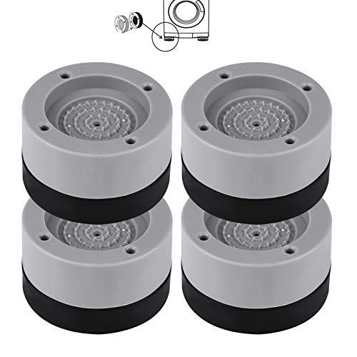 Mitening 4 Pezzi Piedini Antivibrazione Lavatrice Universali, Tappetino antivibrante a Basso Rumore, Ammortizzatore Vibrazione per Lavatrice in Gomma - 4 cm (Grigio)