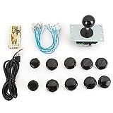 Socobeta Kit de Piezas de Armario de Arcade DIY, Juego de Joystick de Arcade, Kit de Piezas de Bricolaje, codificador USB de retardo Cero, botón de Joystick para Juego Mame(Negro)