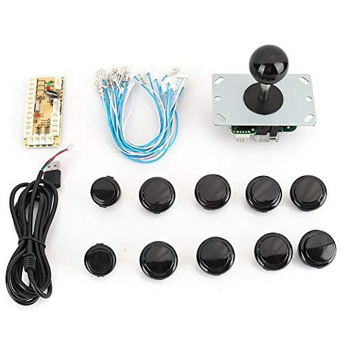 Seacanl Arcade-Joystick, klassisches DIY-Arcade-Joystick-Set mit 10 Arcade-Tasten + USB-Encoder, Kampf-Joystick-Spiel-Controller, für Mame-Spiel (schwarz)