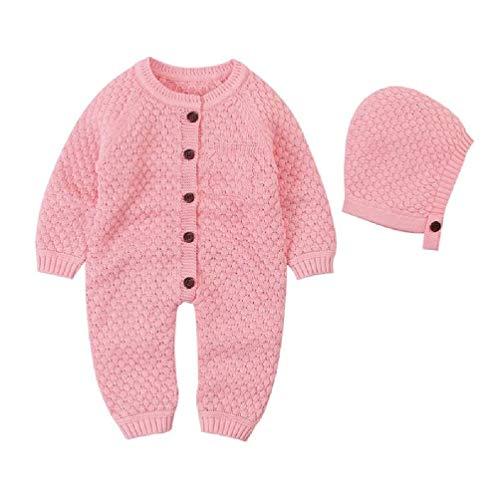 Scwopeuer - Pelele de punto para bebé con sombrero de manga larga para bebé cálido suéter monos ropa