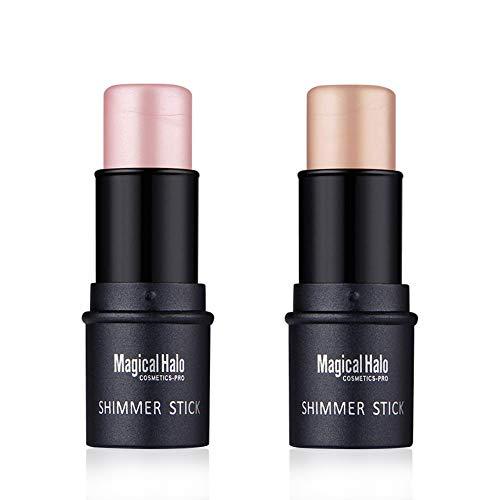 Ownest 2 Colors Highlighter Stick, Shimmer Cream Powder Waterproof Light Face Cosmetics, Creamy Self Sharpening Crayon Stick Highlighter