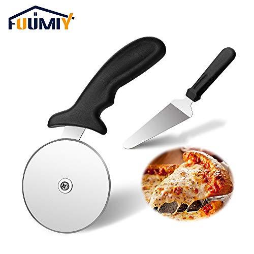 Fuumiy Pizzaschneider Pizzaschaufel 2pack teilig Set, Scharfe Pizzaroller Pizzarad-Pizza Cutter aus Edelstahl Räder und Kunststoff Griff, spülmaschinengeeignet | Schwarz