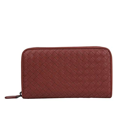 Bottega Veneta Women's Woven Zip Around Brick Red Leather Wallet 132358 6332