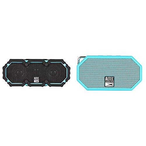 Altec Lansing Life Jacket 2 - Bluetooth Speaker, Black & Lansing Mini H2O - Wireless Bluetooth Waterproof Speaker, Floating, IP67, Portable, Strong Bass, Rich Stereo System, Aqua Blue (IMW257-AB)