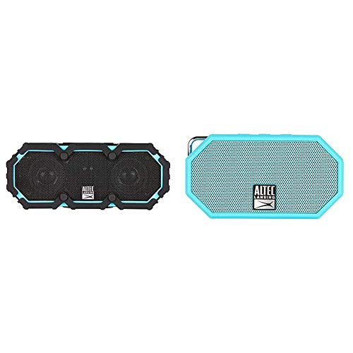 Altec Lansing Life Jacket 2 - Bluetooth Speaker, Black & Lansing Mini H2O - Wireless Bluetooth Waterproof Speaker, Floating, IP67, Portable, Strong Bass, Rich Stereo System, Aqua Blue (IMW257-AB)