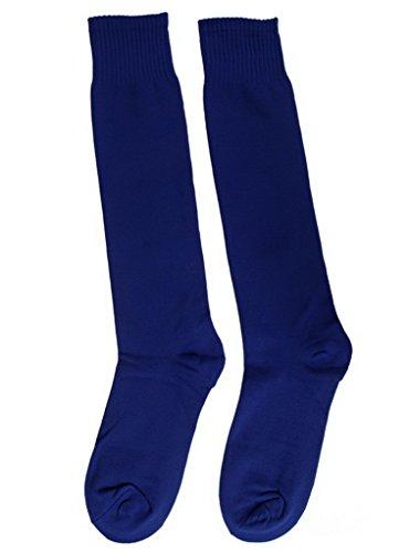 Bigood 3 Paires Chaussette Femme Homme Coton Chaussettes Football Sport Uni Bleu Foncé