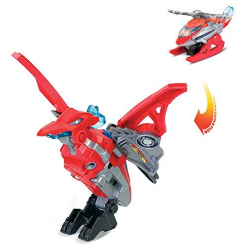 VTech 3480-192122 Switch and Go Dinos Alan, el pteranodon helicoptero, Dinosaurio electronico interactivo que se transforma en coche con voz, funciones, mas de 60 sonidos y frases, Rojo