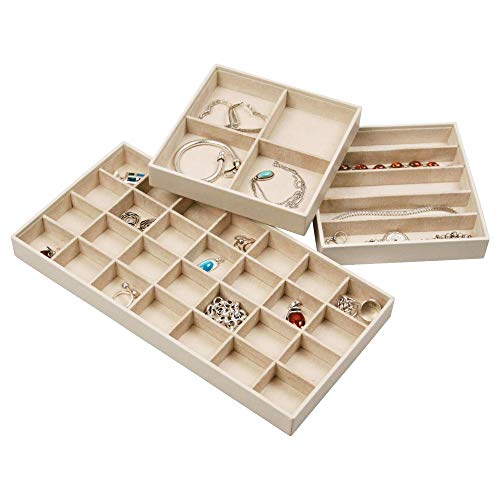 Stock Your Home Stackable Jewelry Trays - Set of 3 - Ivory