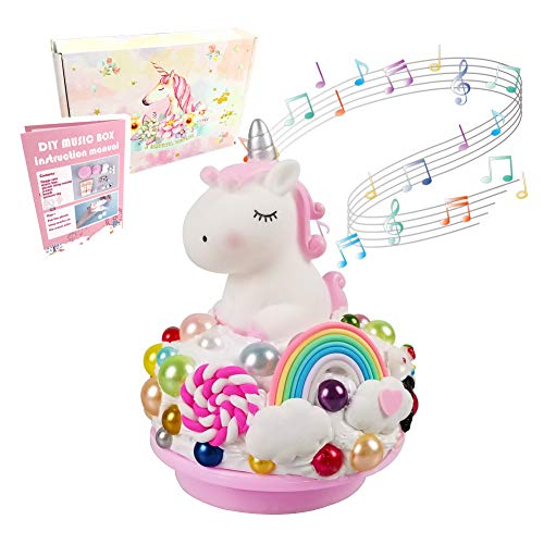 YOPINSAND DIY Music Box Kit with Unicorn Toy, Beads, Accessories Best Arts Crafts Gift for Boys & Girls Age 6+ Year Old