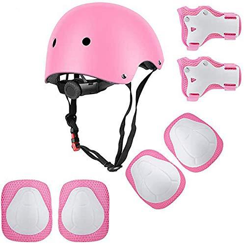 U Yoo - Juego de protección para patinaje infantil 7 en 1 casco, rodilleras, coderas, muñequeras ajustables para monopatín, ciclismo, patinete