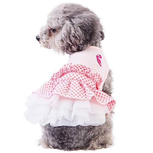 kyeese 犬 ワンピース ドレス スカート 犬用洋服 春 夏 犬の服 ドッグウェア 春 夏 フラミンゴ おしゃれ 可愛い 小中大型犬 散歩着 お出かけ 部屋着 記念撮影 ペット服