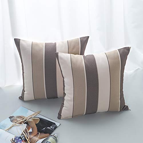 JOTOM Fodera per Cuscino Moda Cuciture Stripes semplicità Modern Linen Federa per Divano Home Living Room Bedroom Interior Decoration, 45x45cm, Set di 2 Pezzi (caffè/caffè Leggero)