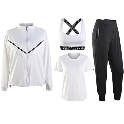 NIMIFOOL Yoga Suit 4 in 1 groot formaat losse persoonlijkheid sneldrogende ademende fitnessruimte training kleding tennis training kleding