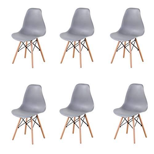 GrandCA Home Ensemble de 4/6 chaises, Design Bois Chaise de Salle à Manger, Chaise de Bureau, Chaise de Salon (Gris-6)