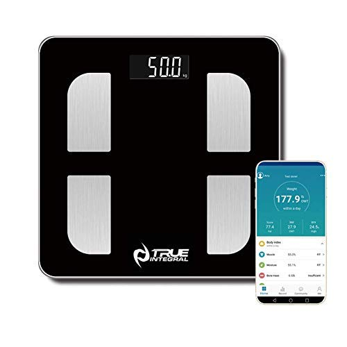 True Integral Bluetooth Body Fat Smart Scale with Smartphone APP, BMI Digital Scale, Bathroom Wireless Weight Scale, 8MM Tempered Glass 440 Lbs Digital Weight Scale in Black