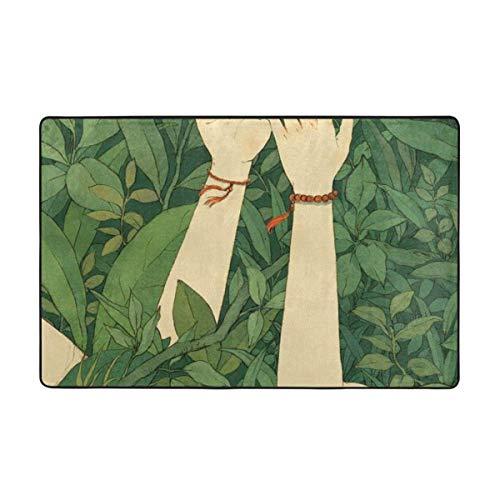 Alfombras de área, alfombras de Piso Antideslizantes de Madera Verde, Alfombra para decoración del hogar, Alfombra de 60 x 39 Pulgadas para Sala de Estar, Sala de Juegos