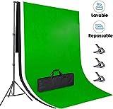 Amzdeal 3 × 2m Soporte de Fondo, con 3 Fondos Fotográficos (Verde Blanco...