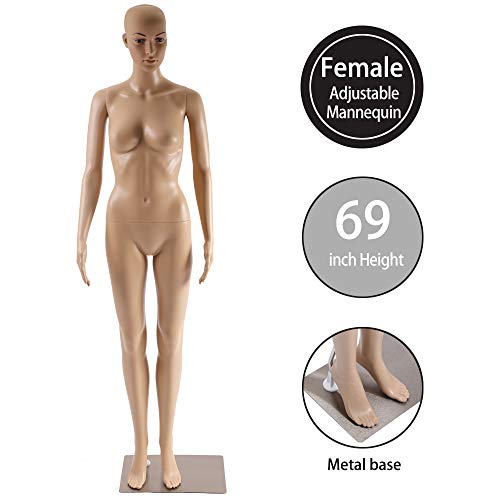 "Female Mannequin Torso Manikin Dress Form Adjustable Detachable Realistic Full Body Mannequin Model Display with Metal Base 69"" Plastic Head Turns Poseable Mannequin Adult Woman Dummy Mannequin Stand"