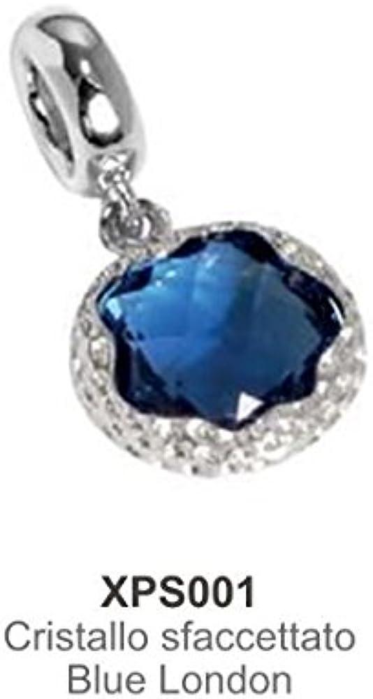 Boccadamo,charm,ciondolo per  donna ,in acciaio rodiato e cristallo sfaccettato blu XPS001