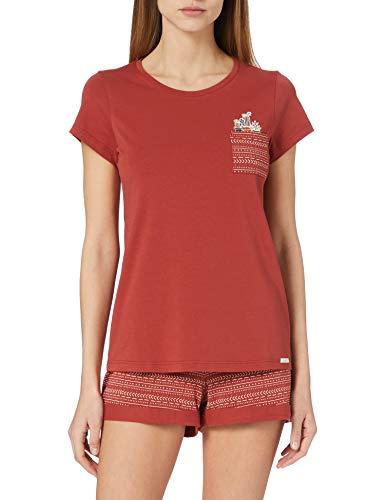 Skiny Damen Pyjama kurz Pyjamaset, Burnt red, 42