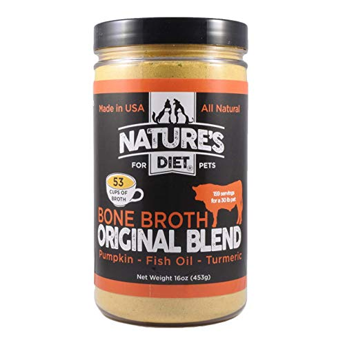 Nature's Diet Pet Bone Broth Protein Powder with Pumpkin, Fish Oil and Turmeric (Beef, 16 oz = 159 Servings)