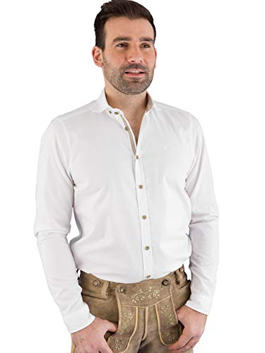 Pure Slim Fit Trachten-Hemd Langarm Button Down Kragen weiß Größe M
