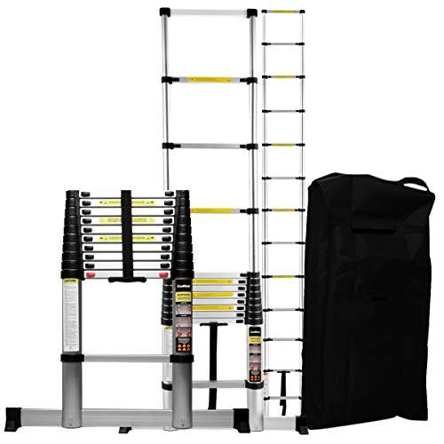 Craftfull Aluminium SOFT CLOSE Teleskopleiter inkl. Tragetasche - in 2/2,6/2,9/3,2/3,8/4,1/4,4 Meter - Mehrzweckleiter - Stehleiter - Aluminiumleiter - Leiter - Schiebeleiter - Aluleiter (3.2 Meter)
