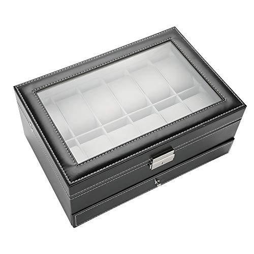Joyero negro de doble capa, cajón de reloj, organizador de joyas, para...