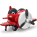 Kidzone 12V Kids Toy Electric Ride On Aircraft 360 Spin 3 Speed Airplane with Remote Control, USB Music, Sound, EVA Tires, DIY Alphabet Stickers, ASTM-Certified, Red