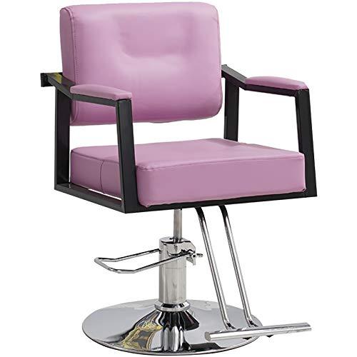 Silla Barbero Hidráulica Resistente 360 ° Giratoria Altura Ajustable Salón Belleza Peluquería,Rosado