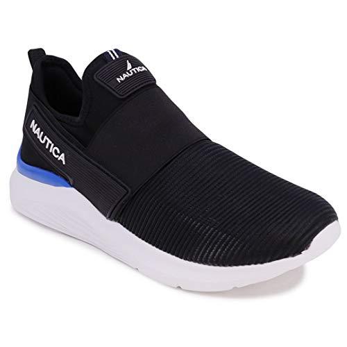 Nautica Men's Casual Fashion Sneakers-Walking Shoes-Lightweight Joggers-Darmon-Black-7.5