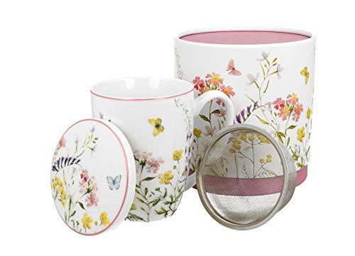Duo Secret Garden - Juego de tazas de té con infusor y tapa (porcelana china, 420 ml, en caja de regalo), diseño de Alicia