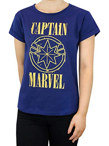 Marvel Capitana Camiseta para Mujer Azul X-Large