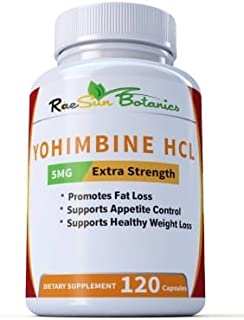 Raesun Botanics Yohimbine HCL Bark Extract Extra Strength Supplement 5mg x 120ct Capsules Premium Fat Burner, Weight Loss, Appetite Control, Male Support, Energy, and More