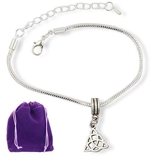 Celtic Bracelet | Triquetra Symbol Stainless Steel Snake Chain Charm Bracelet