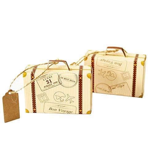 2 Piezas De Creativo Mini Maleta Diseño Dulces Caja De Dulces Embalaje Caja De Cartón Chocolate Boda Caja De Regalo con La Tarjeta para El Partido del Acontecimiento