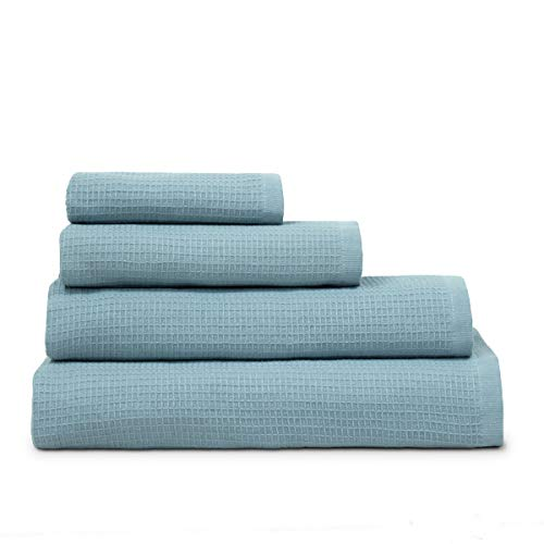 COTTON REUS Toalla Doble cara100% algodón Nido de Abeja Mod Face & Body (Azul Aguamarina, Baño 100 x 150 cm)