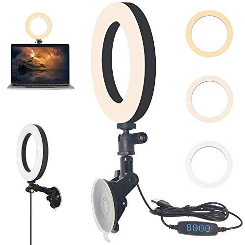 YMCRLUX Webcam Iluminación para llamadas de zoom, reunión virtual, videoconferencia, luz de anillo LED USB para ordenador portátil, monitor de ordenador, escritorio, pared y espejo con ventosa