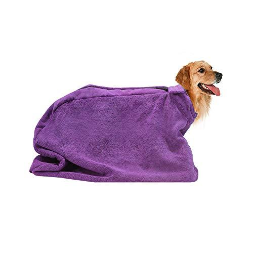 HUI JIN Bolsa de secado para perros de microfibra de alta calidad, elimina rápidamente el barro de agua y la suciedad, color morado