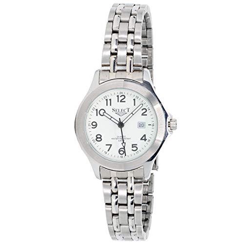 Select 98594-a Reloj Analogico para Mujer Caja De Acero Inoxidable Esfera Color Blanco